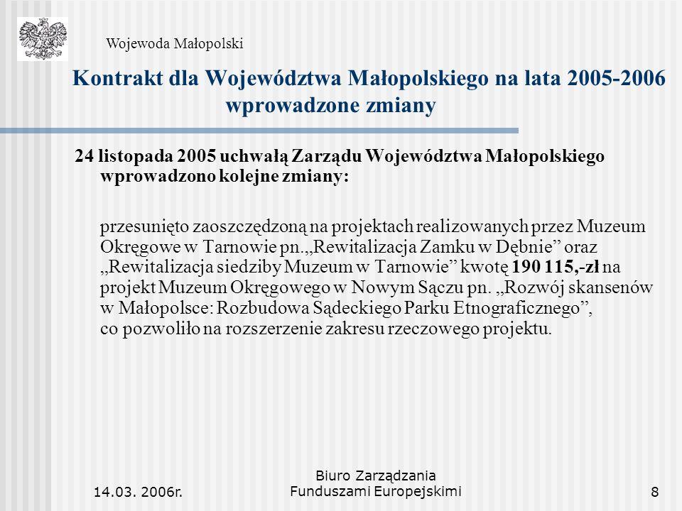 14.03. 2006r. Biuro Zarządzania Funduszami Europejskimi8 Kontrakt dla Województwa Małopolskiego na lata 2005-2006 wprowadzone zmiany 24 listopada 2005