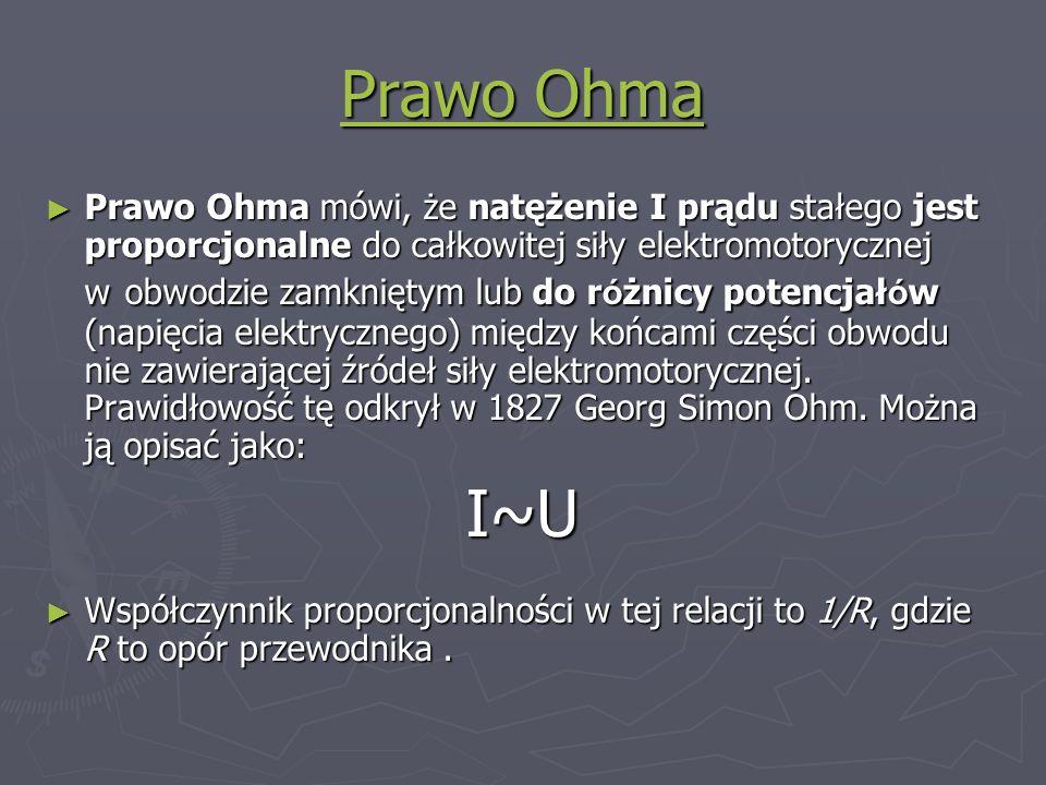 Prawo Ohma Prawo Ohma Prawo Ohma mówi, że natężenie I prądu stałego jest proporcjonalne do całkowitej siły elektromotorycznej w obwodzie zamkniętym lu