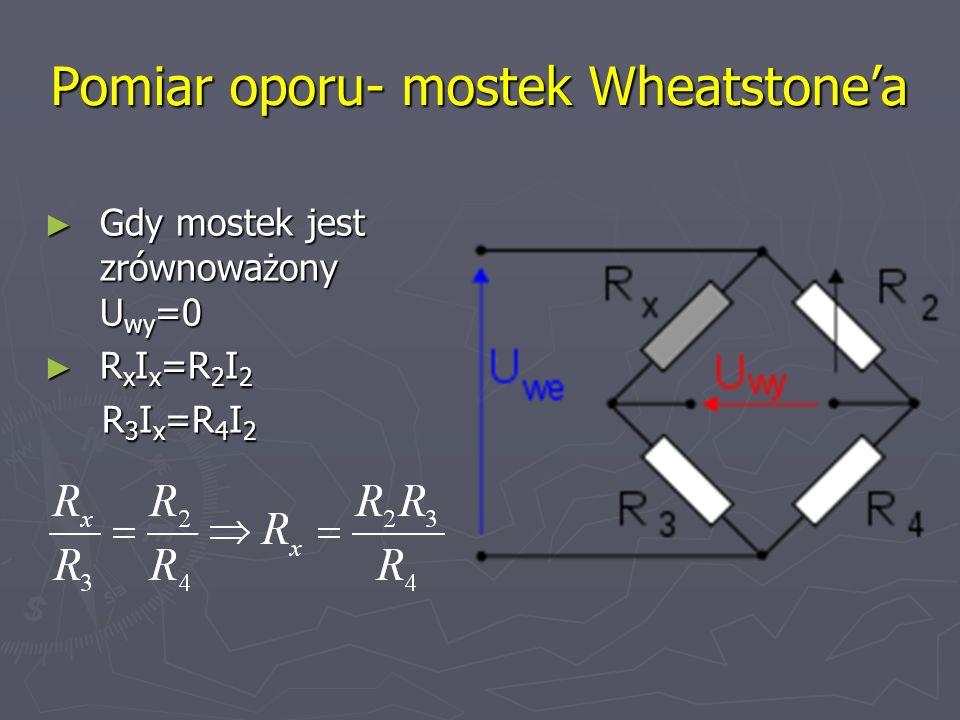 Pomiar oporu- mostek Wheatstonea Gdy mostek jest zrównoważony U wy =0 Gdy mostek jest zrównoważony U wy =0 R x I x =R 2 I 2 R x I x =R 2 I 2 R 3 I x =