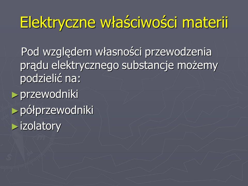 Elektryczne właściwości materii Pod względem własności przewodzenia prądu elektrycznego substancje możemy podzielić na: Pod względem własności przewod