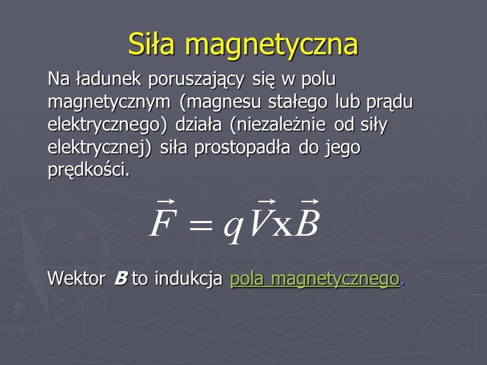 Siła magnetyczna Na ładunek poruszający się w polu magnetycznym (magnesu stałego lub prądu elektrycznego) działa (niezależnie od siły elektrycznej) si