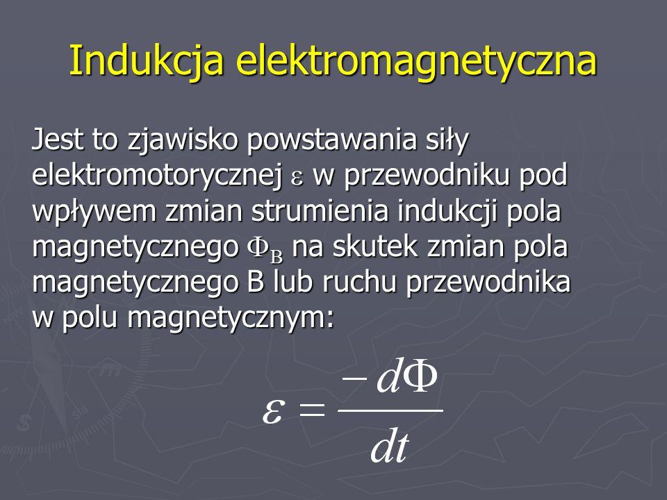 Indukcja elektromagnetyczna Jest to zjawisko powstawania siły elektromotorycznej w przewodniku pod wpływem zmian strumienia indukcji pola magnetyczneg