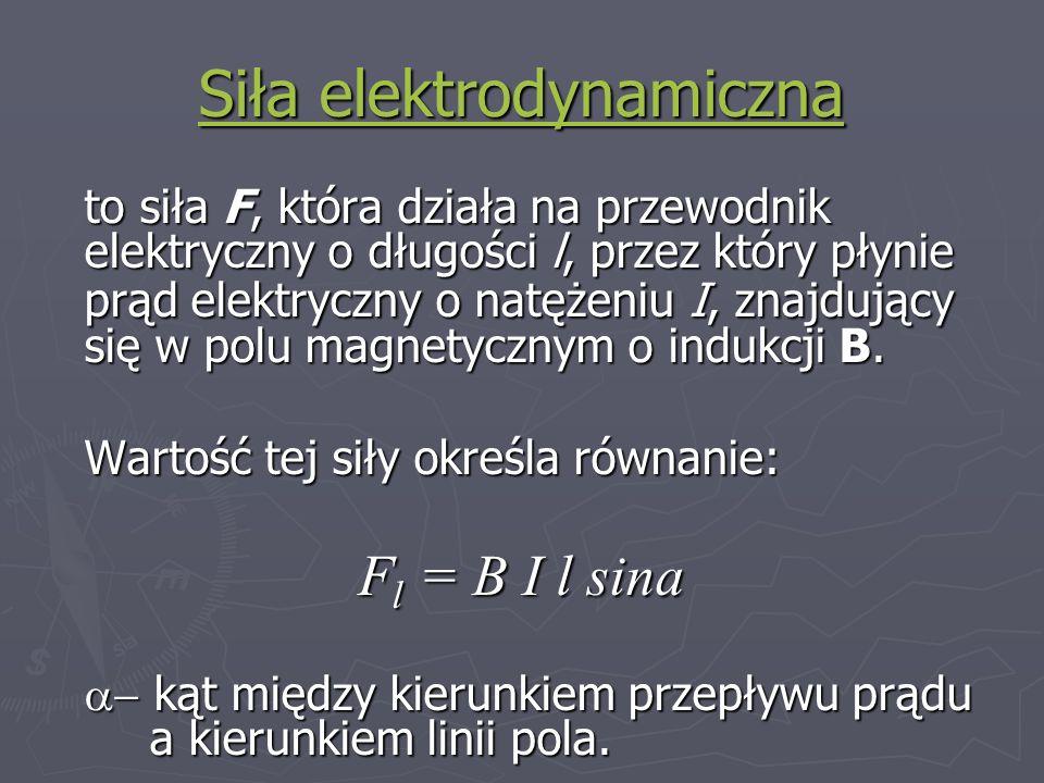 Siła elektrodynamiczna Siła elektrodynamiczna to siła F, która działa na przewodnik elektryczny o długości l, przez który płynie prąd elektryczny o na