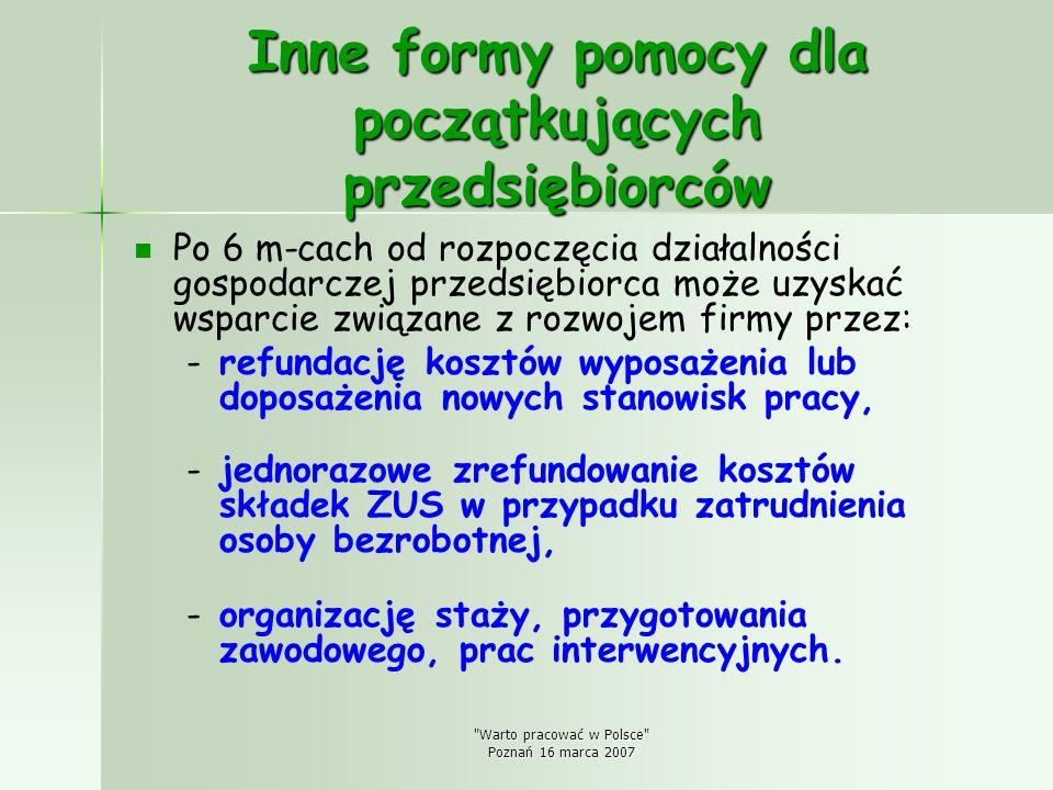 Warto pracować w Polsce Poznań 16 marca 2007 Inne formy pomocy dla początkujących przedsiębiorców Po 6 m-cach od rozpoczęcia działalności gospodarczej przedsiębiorca może uzyskać wsparcie związane z rozwojem firmy przez: - -refundację kosztów wyposażenia lub doposażenia nowych stanowisk pracy, - -jednorazowe zrefundowanie kosztów składek ZUS w przypadku zatrudnienia osoby bezrobotnej, - -organizację staży, przygotowania zawodowego, prac interwencyjnych.