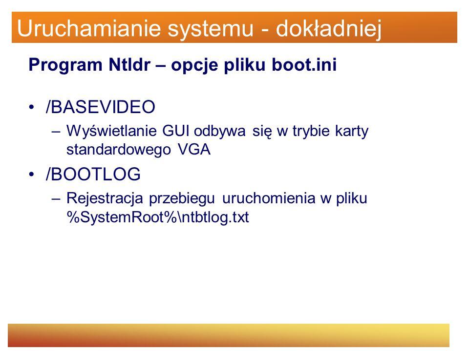 Uruchamianie systemu - dokładniej Program Ntldr – opcje pliku boot.ini /BASEVIDEO –Wyświetlanie GUI odbywa się w trybie karty standardowego VGA /BOOTL