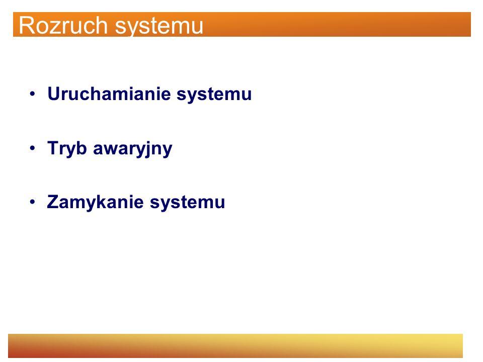 Uruchamianie systemu Składniki procesu uruchamiania: Program ładujący –Tryb 16-bitowy, czyta i ładuje sektory startowe partycji Sektor startowy –16-bitowy, czyta główny katalog żeby załadować Ntldr Ntldr –16-bitowy tryb rzeczywisty, 32-bitowy tryb chroniony, uruchamia stronicowanie, czyta boot.ini, wyświetla menu startowe i ładuje ntoskrnl.exe, bootvid.dll, hal.dll oraz sterowniki urządzeń potrzebne do startu
