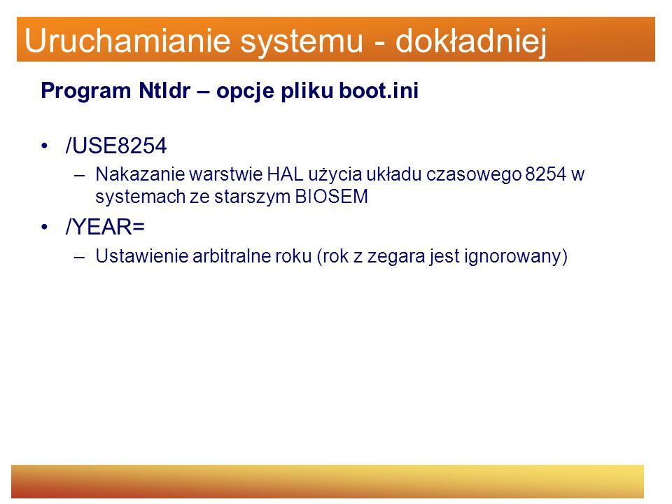 Uruchamianie systemu - dokładniej Program Ntldr – opcje pliku boot.ini /USE8254 –Nakazanie warstwie HAL użycia układu czasowego 8254 w systemach ze st