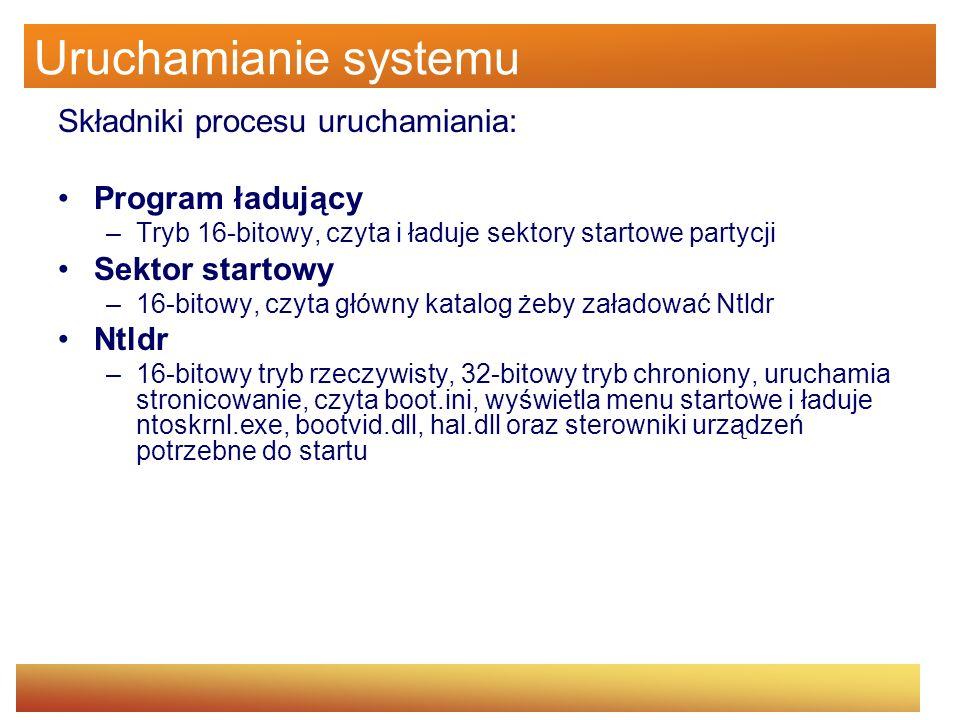 Uruchamianie systemu Składniki procesu uruchamiania: Ntoskrnl.exe –32-bitowy tryb chroniony ze stronicowaniem – inicjalizuje podsystem wykonawczy i uruchamia sterowniki urządzeń, przygotowuje system do uruchamiania programów i uruchania smss.exe Smss –Aplikacja 32-bitowa, ładuje podsystem win32 (który zawiera win32k.sys oraz csrss.exe), uruchamia proces winlogon