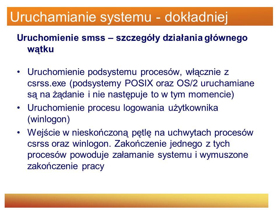 Uruchamianie systemu - dokładniej Uruchomienie smss – szczegóły działania głównego wątku Uruchomienie podsystemu procesów, włącznie z csrss.exe (podsy
