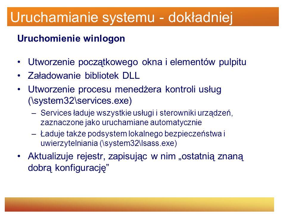 Uruchamianie systemu - dokładniej Uruchomienie winlogon Utworzenie początkowego okna i elementów pulpitu Załadowanie bibliotek DLL Utworzenie procesu
