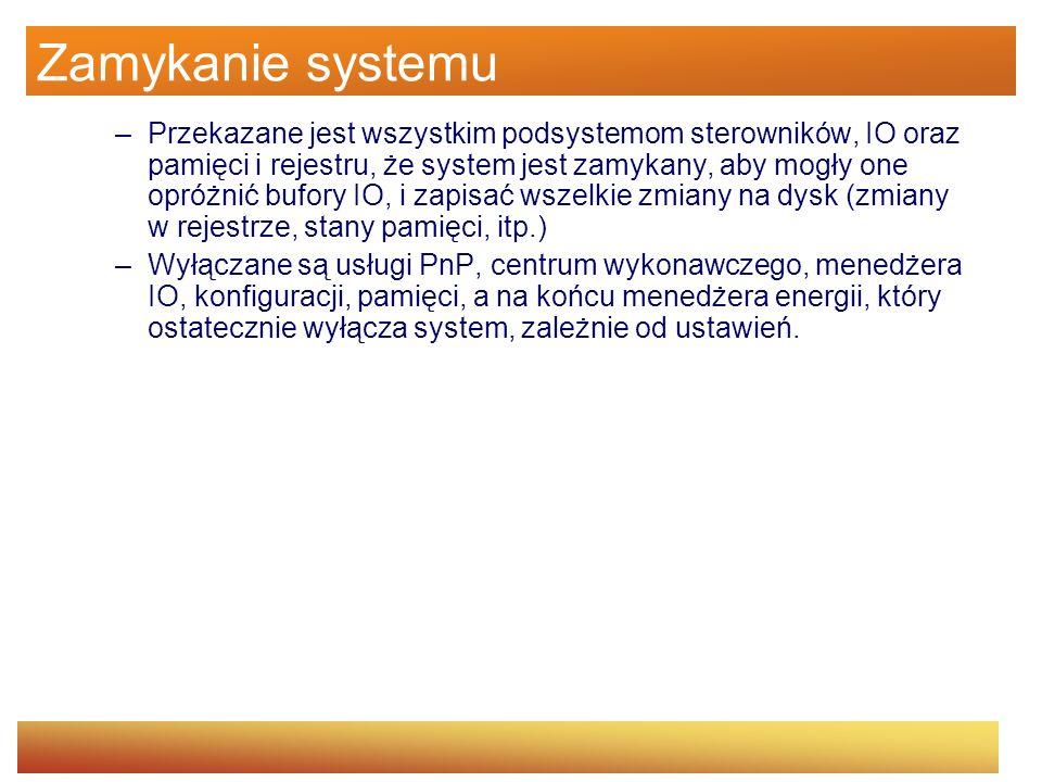 Zamykanie systemu –Przekazane jest wszystkim podsystemom sterowników, IO oraz pamięci i rejestru, że system jest zamykany, aby mogły one opróżnić bufo