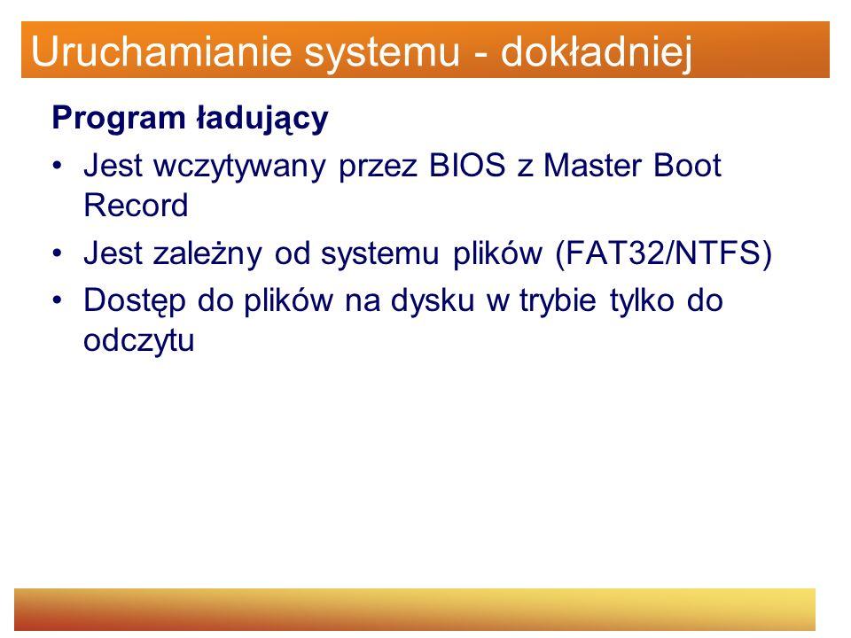 Uruchamianie systemu - dokładniej Program ładujący Jest wczytywany przez BIOS z Master Boot Record Jest zależny od systemu plików (FAT32/NTFS) Dostęp