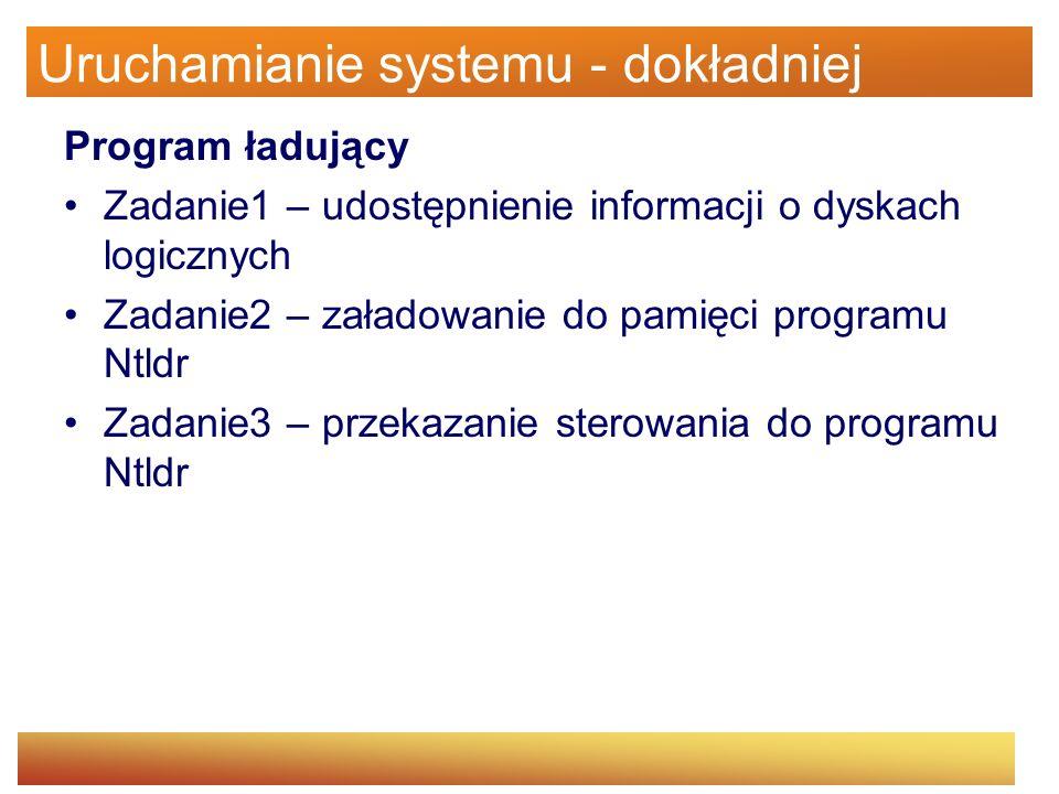 Uruchamianie systemu - dokładniej Program ładujący Zadanie1 – udostępnienie informacji o dyskach logicznych Zadanie2 – załadowanie do pamięci programu