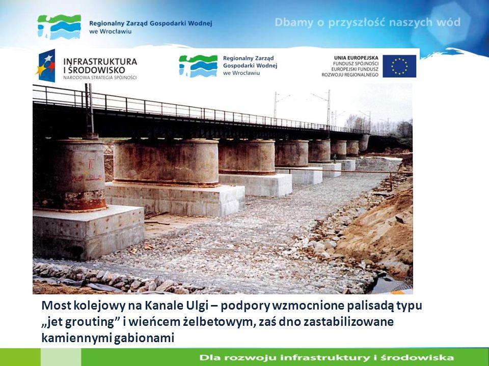 Most kolejowy na Kanale Ulgi – podpory wzmocnione palisadą typu jet grouting i wieńcem żelbetowym, zaś dno zastabilizowane kamiennymi gabionami