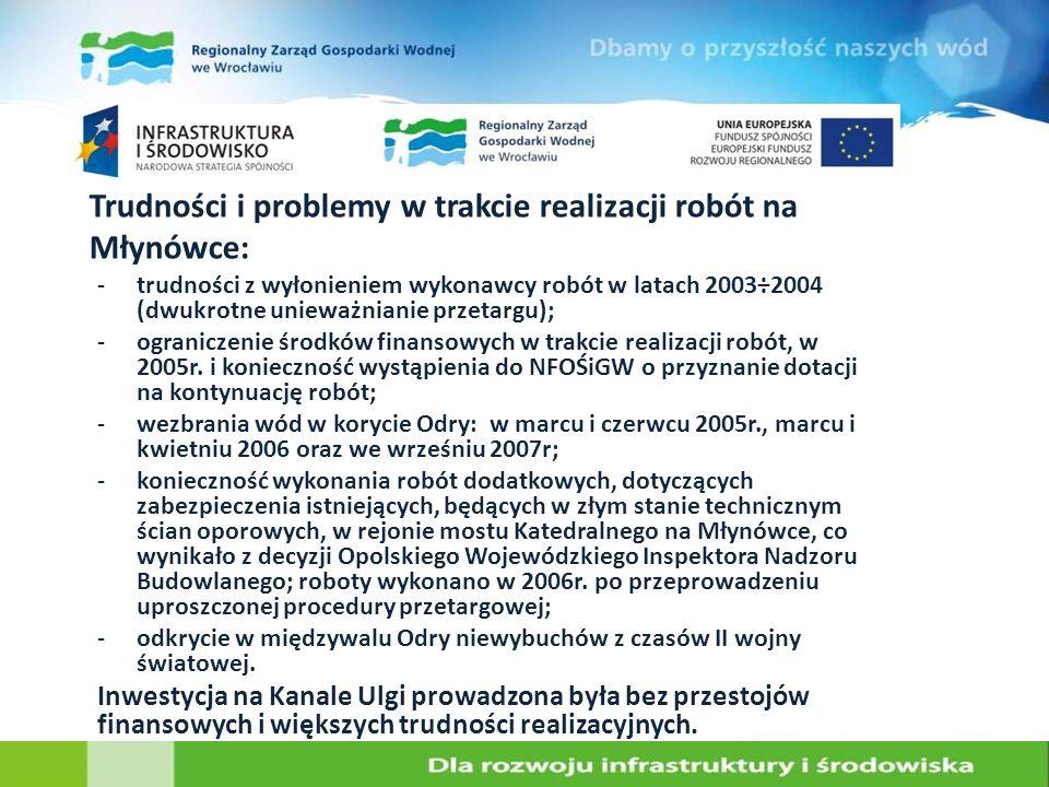 Trudności i problemy w trakcie realizacji robót na Młynówce: -trudności z wyłonieniem wykonawcy robót w latach 2003÷2004 (dwukrotne unieważnianie prze