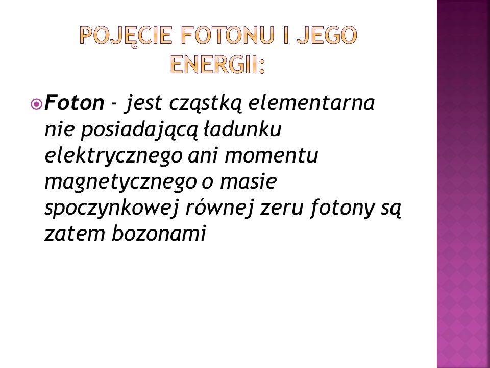Foton - jest cząstką elementarna nie posiadającą ładunku elektrycznego ani momentu magnetycznego o masie spoczynkowej równej zeru fotony są zatem bozo