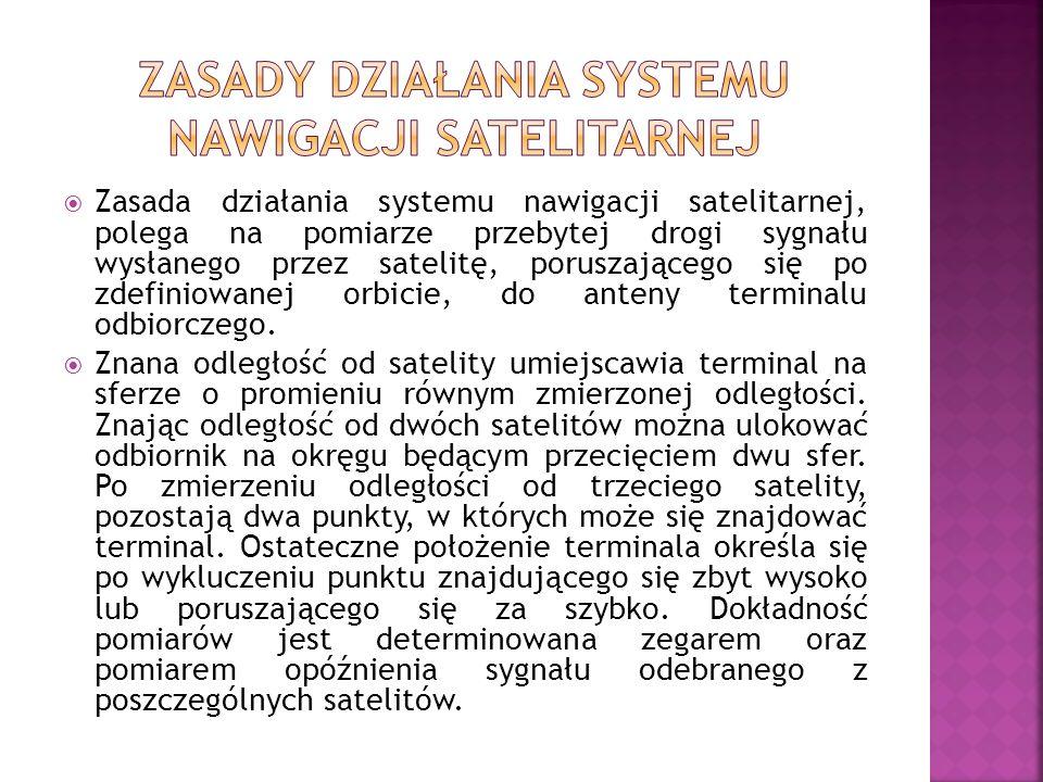Zasada działania systemu nawigacji satelitarnej, polega na pomiarze przebytej drogi sygnału wysłanego przez satelitę, poruszającego się po zdefiniowan