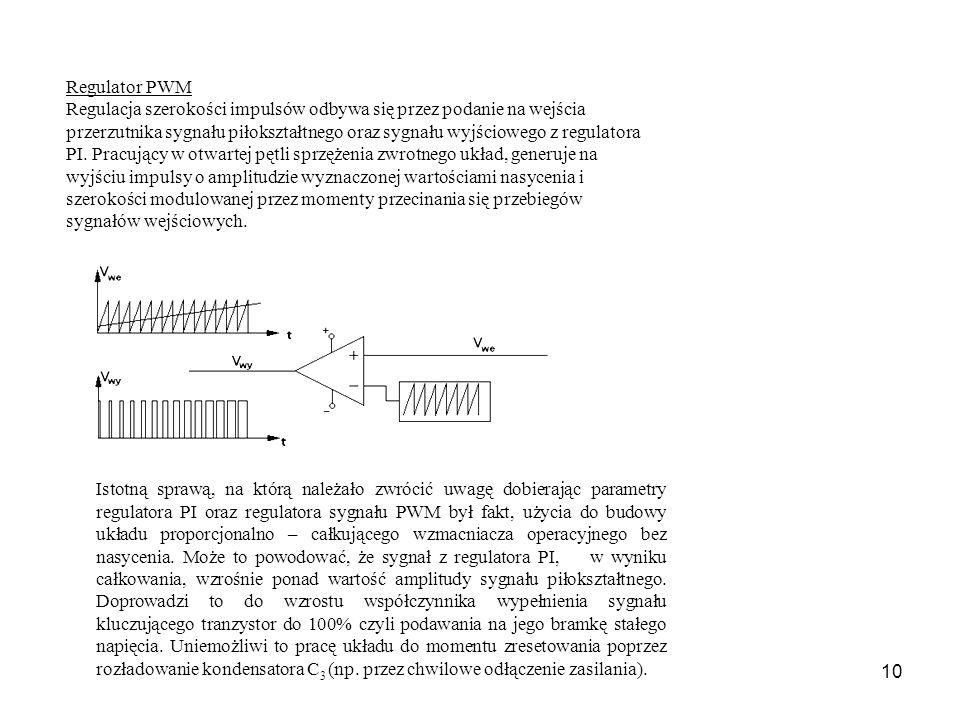 10 Regulator PWM Regulacja szerokości impulsów odbywa się przez podanie na wejścia przerzutnika sygnału piłokształtnego oraz sygnału wyjściowego z regulatora PI.