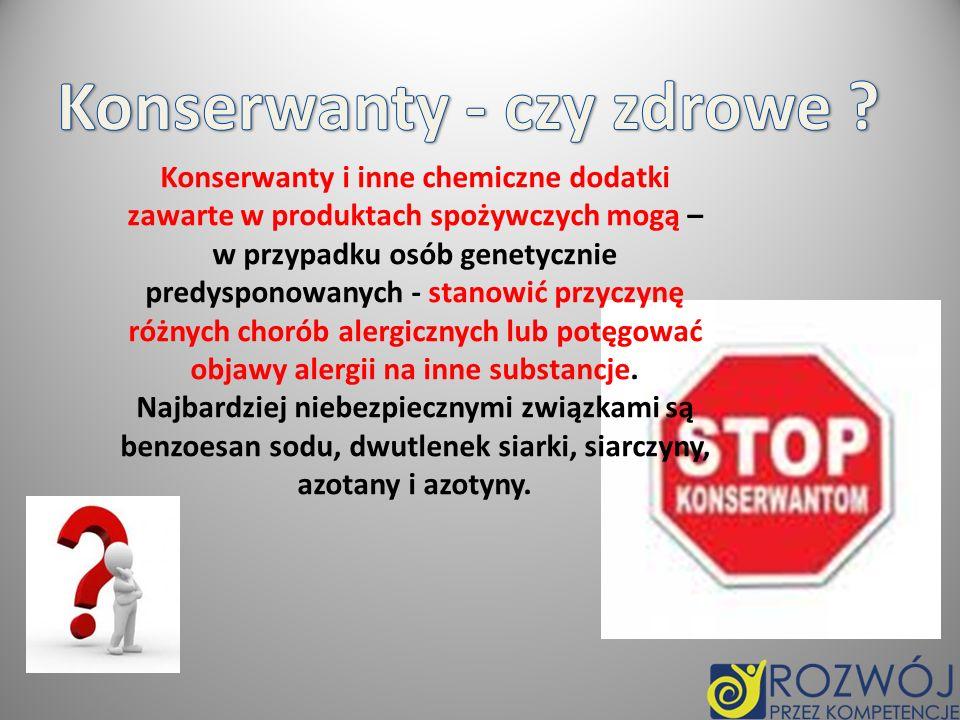 E-100 - E-180 - barwniki E-200 - E-283 - konserwanty E-290 - E-385 - przeciwutleniacze, stabilizatory, regulatory kwasowości E-400 - E-495 - zagęszczacze i stabilizatory E-500 - E-1518 - regulatory kwasowości, środki spulchniające, przeciwzbrylające, klarujące, wzmacniacze smaku Pod literą E i trzema cyframi znajdują się grupy substancji dodawanych do produkcji żywności: