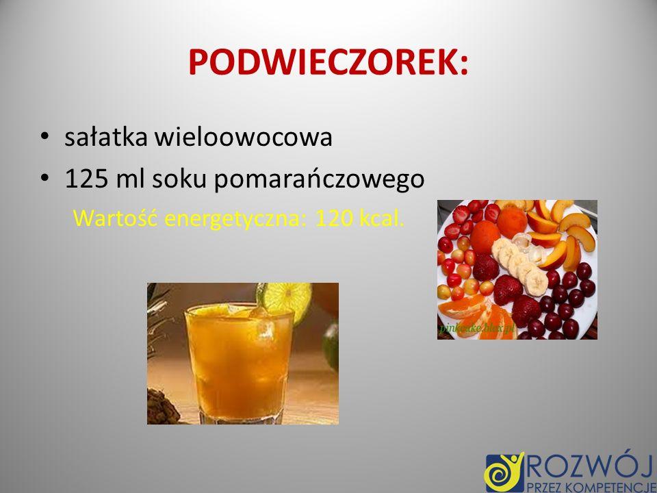 KOLACJA: Bułka 5 g masła śmietankowego 2 plastry ementalera 1 pomidor 2 plastry polędwicy z drobiu kakao Wartość energetyczna: 500 kcal Wartość energetyczna po całym dniu: 2510 kcal