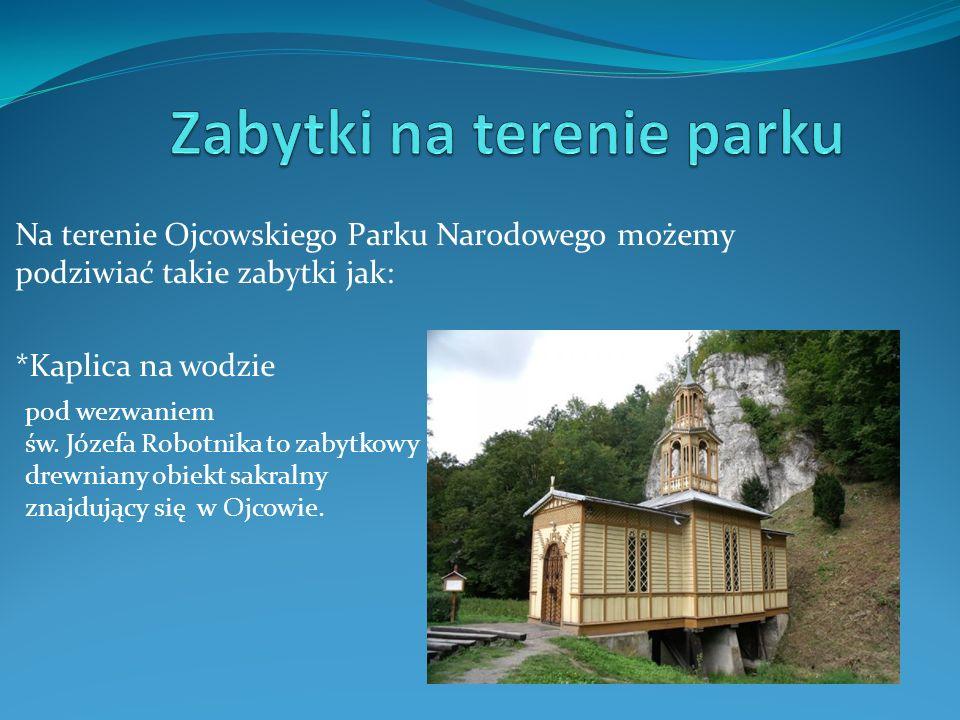 Na terenie Ojcowskiego Parku Narodowego możemy podziwiać takie zabytki jak: *Kaplica na wodzie pod wezwaniem św. Józefa Robotnika to zabytkowy drewnia