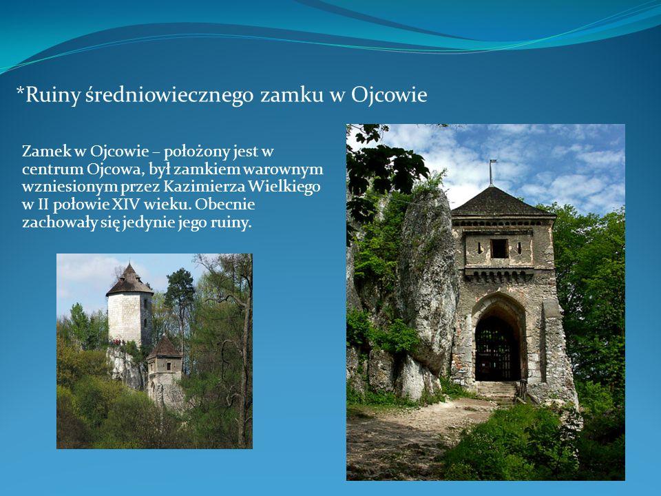 *Ruiny średniowiecznego zamku w Ojcowie Zamek w Ojcowie – położony jest w centrum Ojcowa, był zamkiem warownym wzniesionym przez Kazimierza Wielkiego