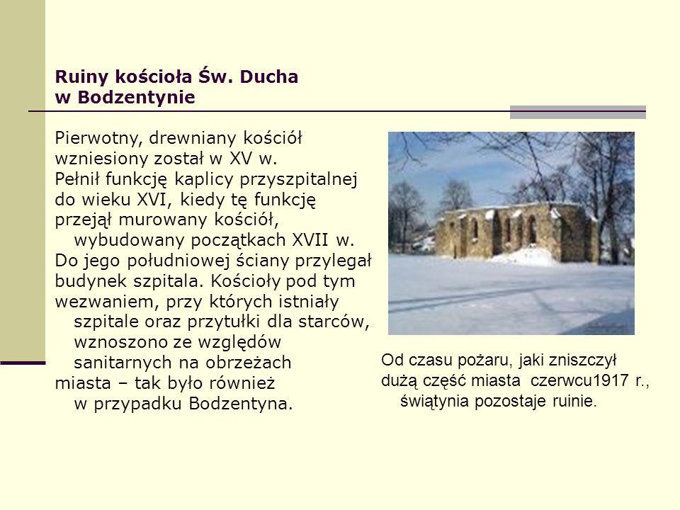 Ruiny kościoła Św. Ducha w Bodzentynie Pierwotny, drewniany kościół wzniesiony został w XV w. Pełnił funkcję kaplicy przyszpitalnej do wieku XVI, kied