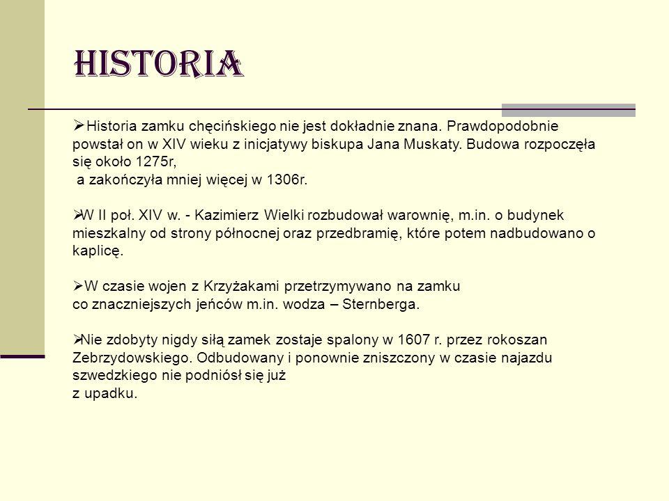 Historia Historia zamku chęcińskiego nie jest dokładnie znana. Prawdopodobnie powstał on w XIV wieku z inicjatywy biskupa Jana Muskaty. Budowa rozpocz