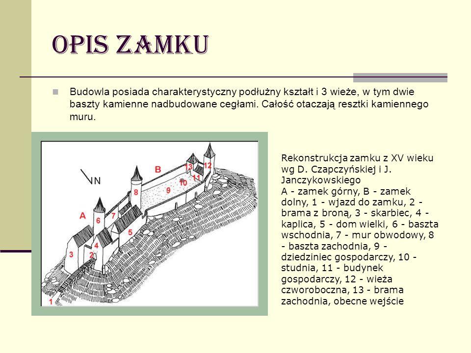 Opis Zamku Budowla posiada charakterystyczny podłużny kształt i 3 wieże, w tym dwie baszty kamienne nadbudowane cegłami. Całość otaczają resztki kamie