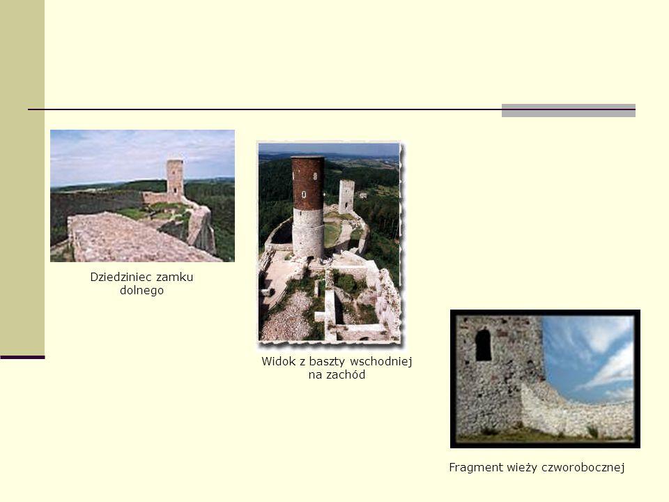Widok z baszty wschodniej na zachód Dziedziniec zamku dolnego Fragment wieży czworobocznej