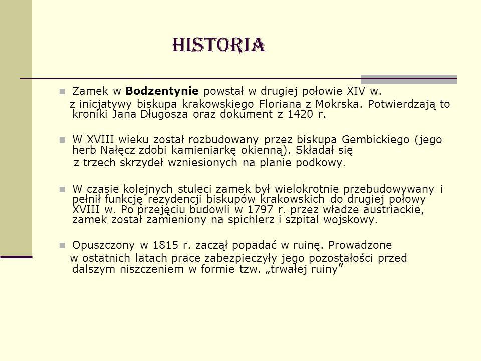 Zamek w Bodzentynie powstał w drugiej połowie XIV w. z inicjatywy biskupa krakowskiego Floriana z Mokrska. Potwierdzają to kroniki Jana Długosza oraz