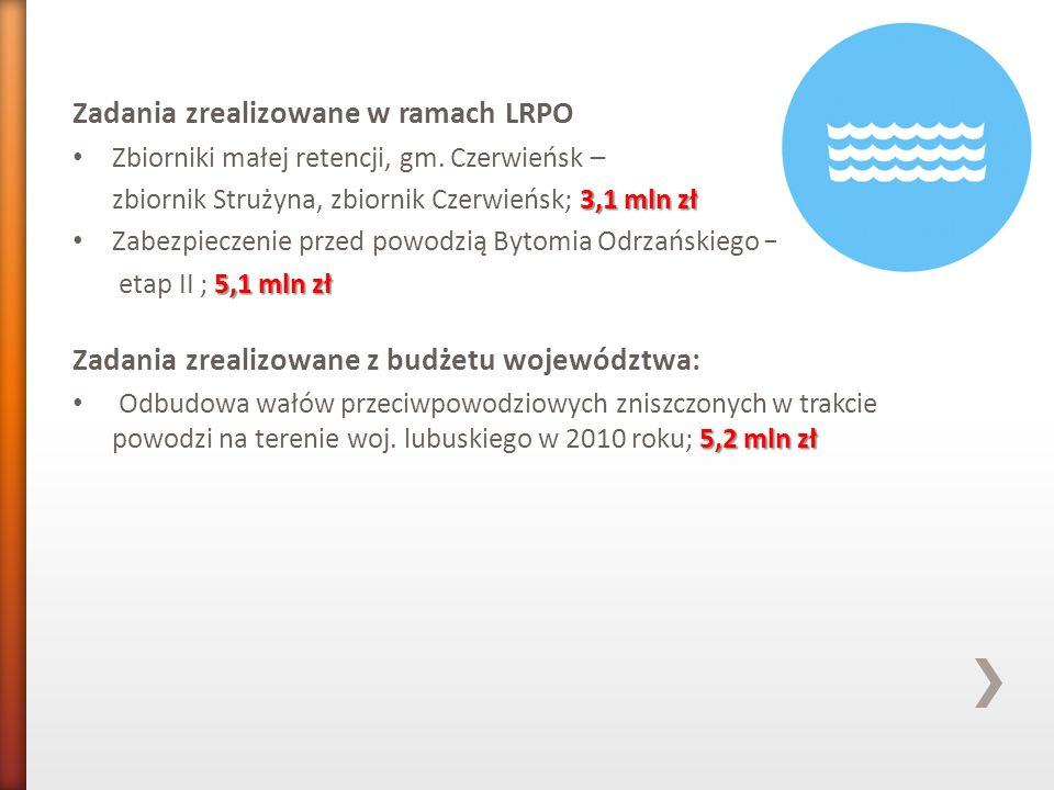 Zadania zrealizowane w ramach LRPO Zbiorniki małej retencji, gm. Czerwieńsk – 3,1 mln zł zbiornik Strużyna, zbiornik Czerwieńsk; 3,1 mln zł Zabezpiecz