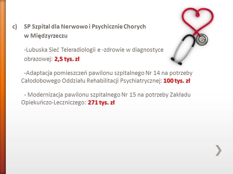 c)SP Szpital dla Nerwowo i Psychicznie Chorych w Międzyrzeczu -Lubuska Sieć Teleradiologii e -zdrowie w diagnostyce 2,5 tys. zł obrazowej: 2,5 tys. zł