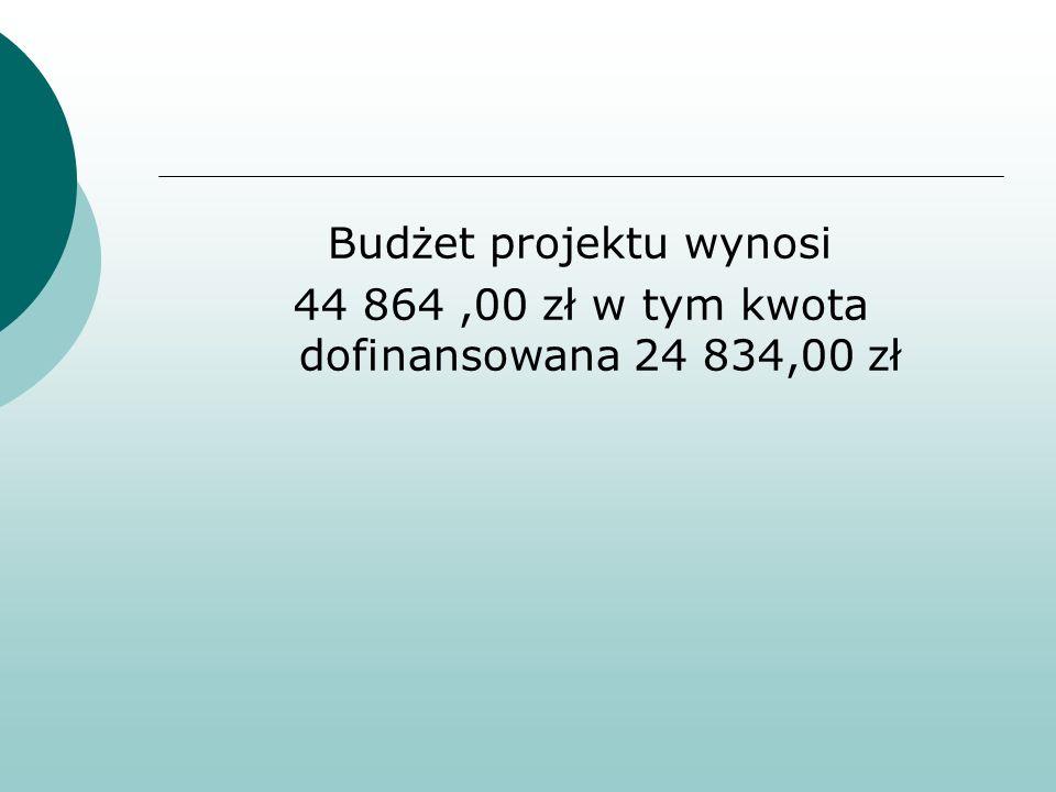 Budżet projektu wynosi 44 864,00 zł w tym kwota dofinansowana 24 834,00 zł