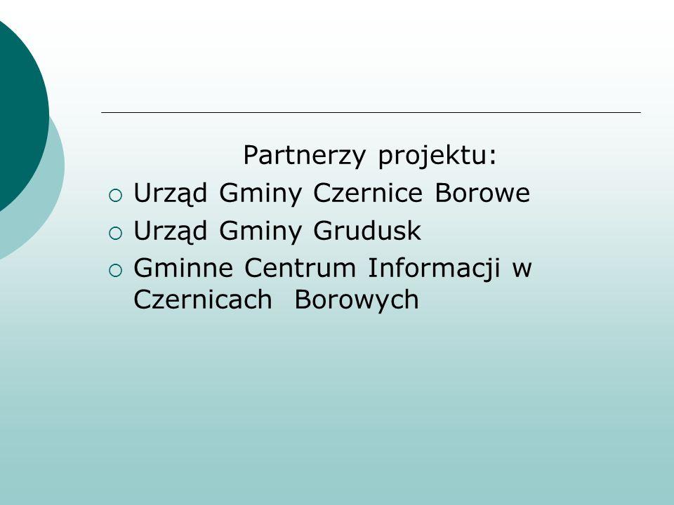 Partnerzy projektu: Urząd Gminy Czernice Borowe Urząd Gminy Grudusk Gminne Centrum Informacji w Czernicach Borowych