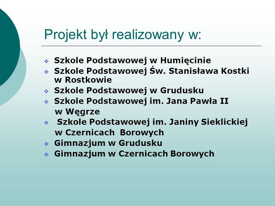 Projekt był realizowany w: Szkole Podstawowej w Humięcinie Szkole Podstawowej Św. Stanisława Kostki w Rostkowie Szkole Podstawowej w Grudusku Szkole P