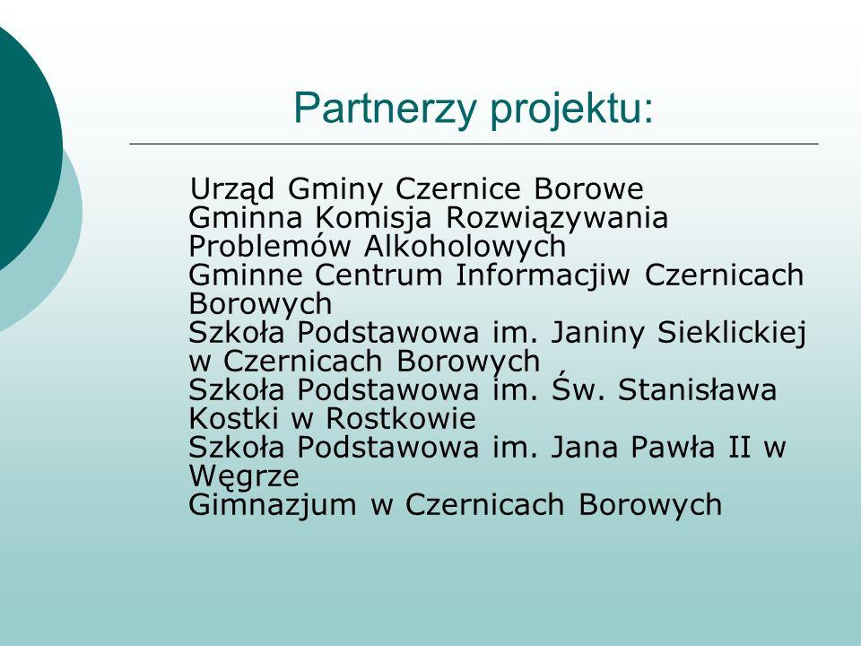 Partnerzy projektu: Urząd Gminy Czernice Borowe Gminna Komisja Rozwiązywania Problemów Alkoholowych Gminne Centrum Informacjiw Czernicach Borowych Szk