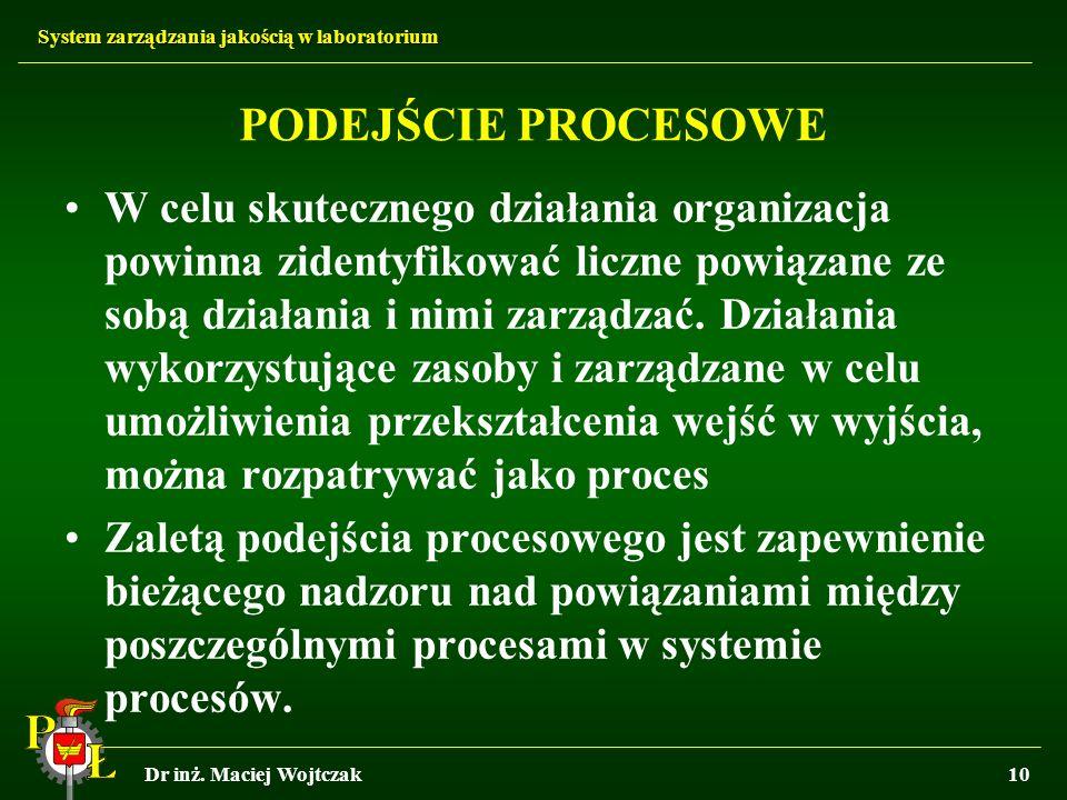 System zarządzania jakością w laboratorium Dr inż. Maciej Wojtczak10 PODEJŚCIE PROCESOWE W celu skutecznego działania organizacja powinna zidentyfikow