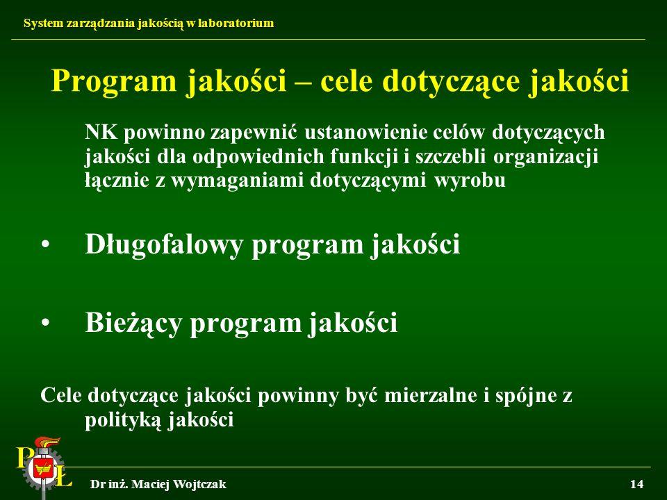 System zarządzania jakością w laboratorium Dr inż. Maciej Wojtczak14 Program jakości – cele dotyczące jakości NK powinno zapewnić ustanowienie celów d