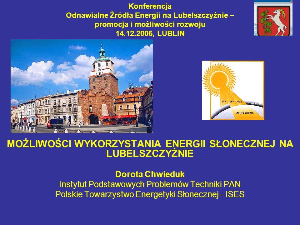 Konferencja Odnawialne Źródła Energii na Lubelszczyźnie – promocja i możliwości rozwoju 14.12.2006, LUBLIN MOŻLIWOŚCI WYKORZYSTANIA ENERGII SŁONECZNEJ NA LUBELSZCZYŹNIE Dorota Chwieduk Instytut Podstawowych Problemów Techniki PAN Polskie Towarzystwo Energetyki Słonecznej - ISES