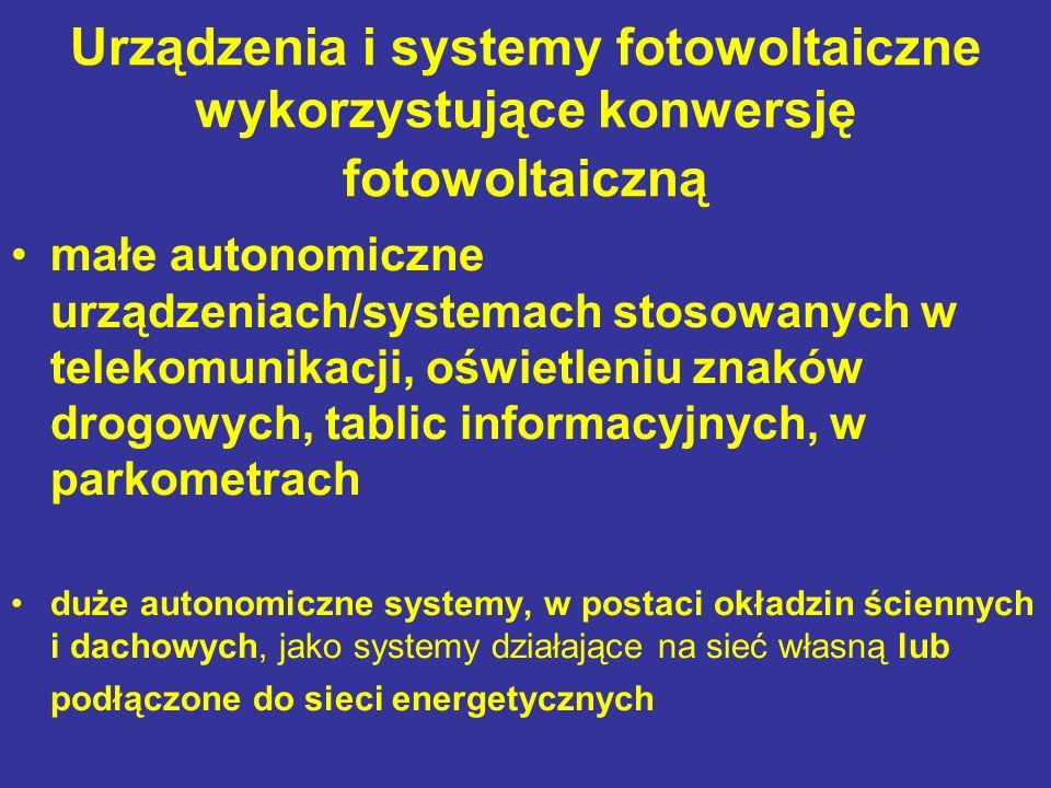 Urządzenia i systemy fotowoltaiczne wykorzystujące konwersję fotowoltaiczną małe autonomiczne urządzeniach/systemach stosowanych w telekomunikacji, oświetleniu znaków drogowych, tablic informacyjnych, w parkometrach duże autonomiczne systemy, w postaci okładzin ściennych i dachowych, jako systemy działające na sieć własną lub podłączone do sieci energetycznych