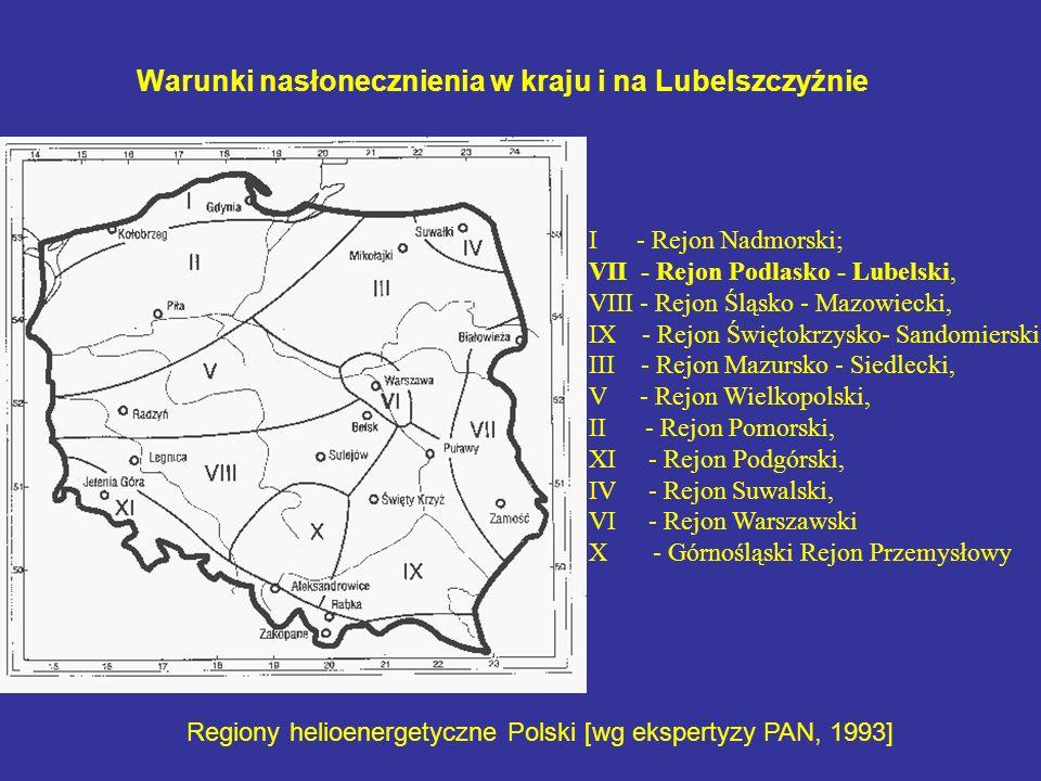 Warunki nasłonecznienia w kraju i na Lubelszczyźnie Regiony helioenergetyczne Polski [wg ekspertyzy PAN, 1993] I - Rejon Nadmorski; VII - Rejon Podlas