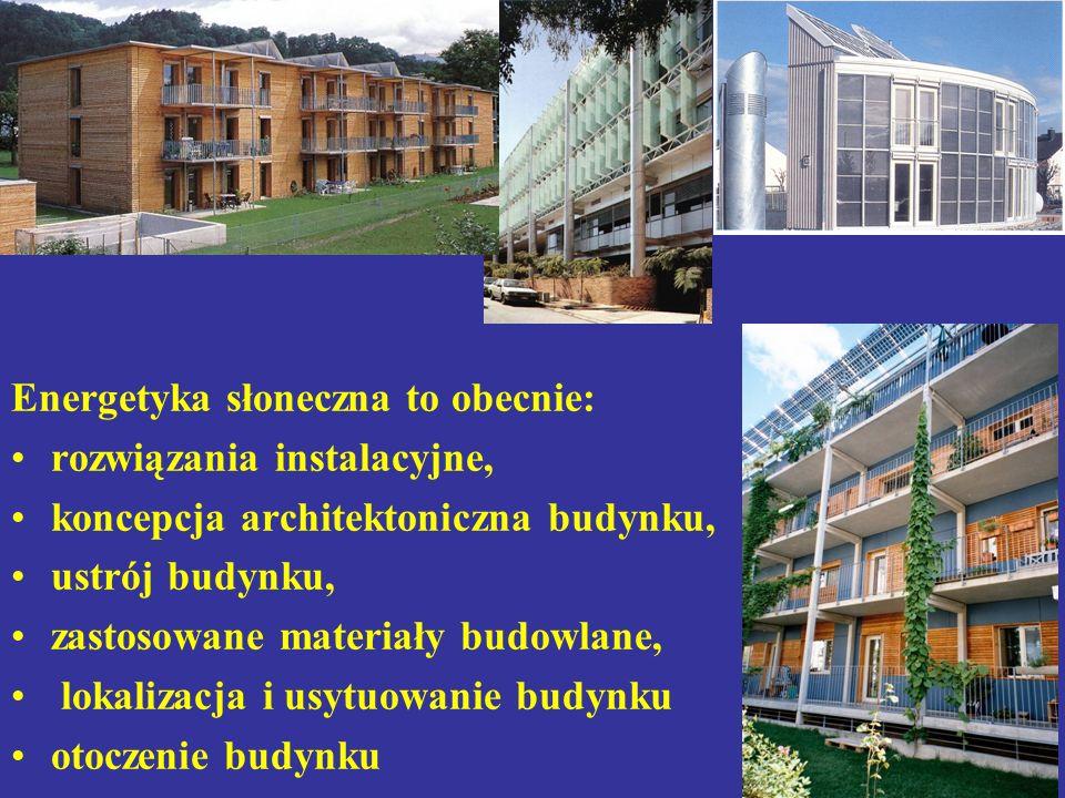 Energetyka słoneczna to obecnie: rozwiązania instalacyjne, koncepcja architektoniczna budynku, ustrój budynku, zastosowane materiały budowlane, lokalizacja i usytuowanie budynku otoczenie budynku