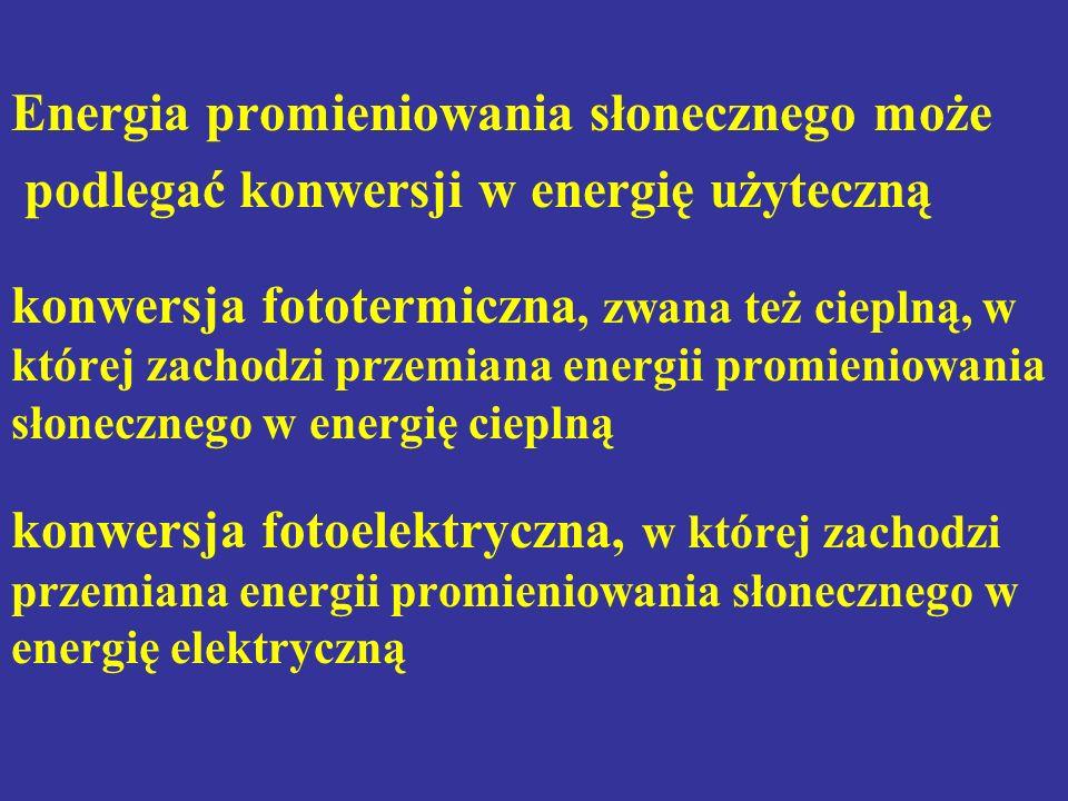 Energia promieniowania słonecznego może podlegać konwersji w energię użyteczną konwersja fototermiczna, zwana też cieplną, w której zachodzi przemiana energii promieniowania słonecznego w energię cieplną konwersja fotoelektryczna, w której zachodzi przemiana energii promieniowania słonecznego w energię elektryczną