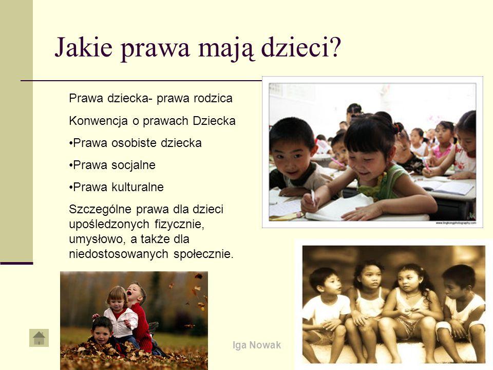 Iga Nowak Jakie prawa mają dzieci? Prawa dziecka- prawa rodzica Konwencja o prawach Dziecka Prawa osobiste dziecka Prawa socjalne Prawa kulturalne Szc