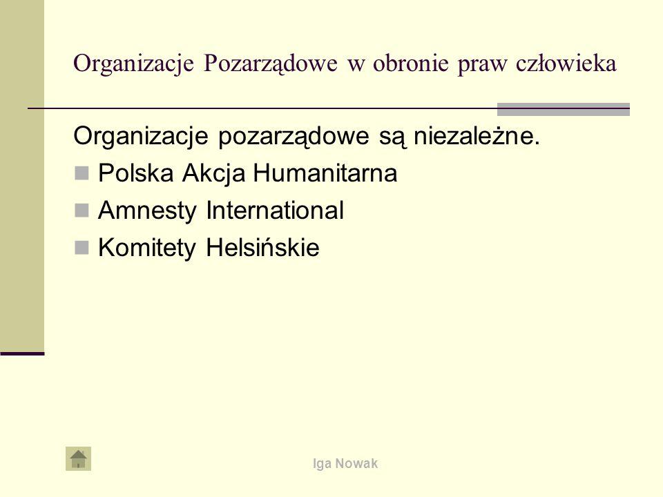 Iga Nowak Organizacje Pozarządowe w obronie praw człowieka Organizacje pozarządowe są niezależne. Polska Akcja Humanitarna Amnesty International Komit