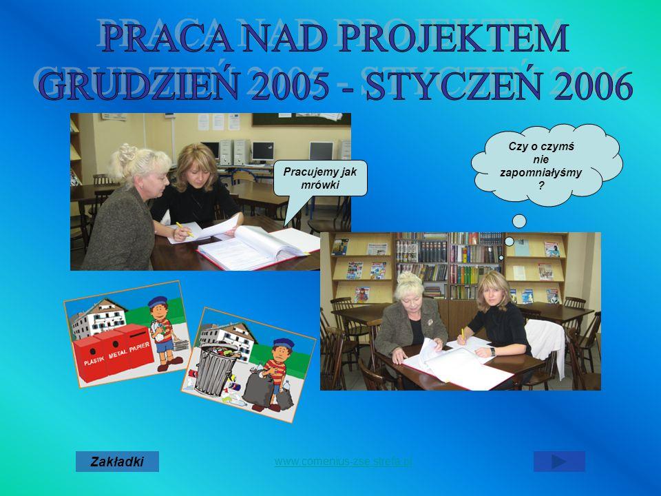 Czy o czymś nie zapomniałyśmy ? Pracujemy jak mrówki Zakładki www.comenius-zse.strefa.pl