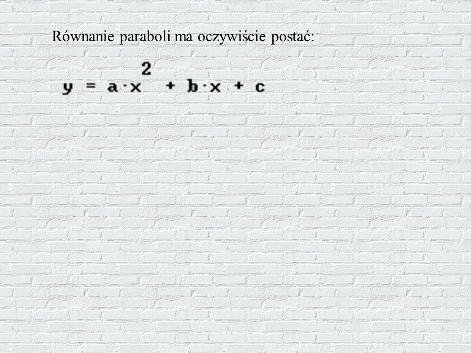 Równanie paraboli ma oczywiście postać: