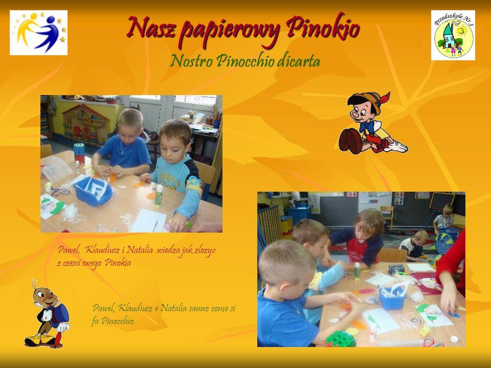 Nasz papierowy Pinokio Pawel, Klaudiusz i Natalia wiedza jak zlozyc z czesci swego Pinokia Pawel, Klaudiusz e Natalia sanno come si fa Pinocchio. Nost