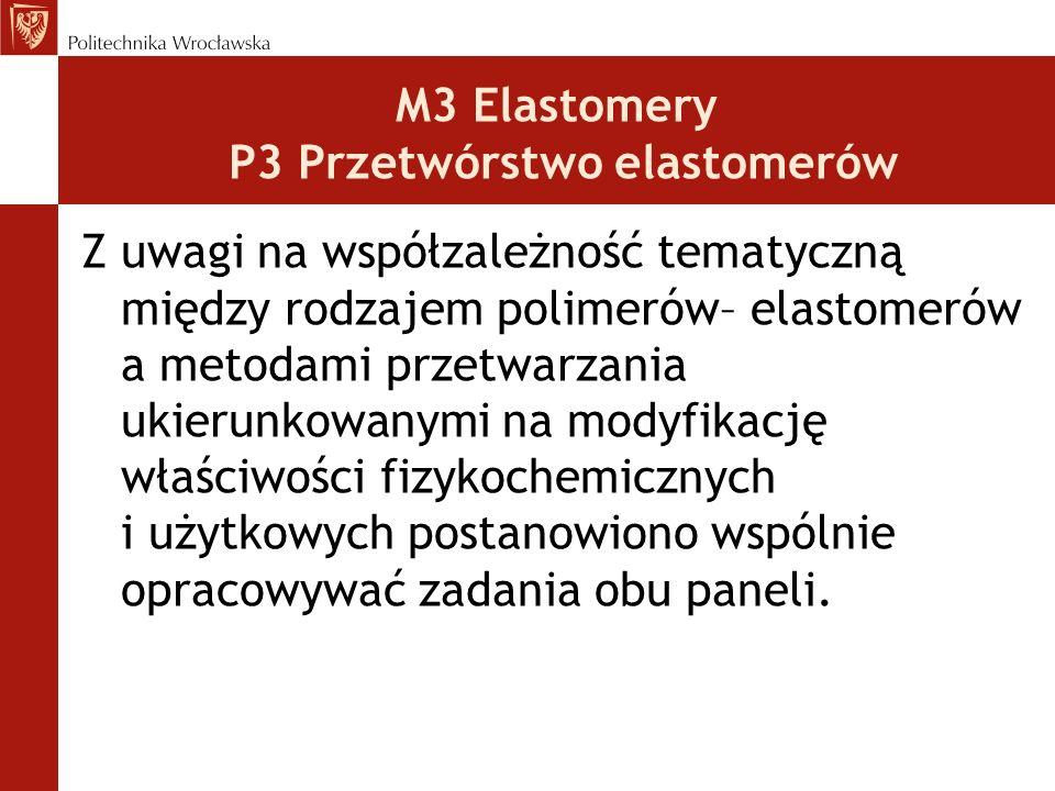 Obszary tematyczne M3 Elastomery kauczuki syntetyczne kauczuk naturalny styrenowe elastomery termoplastyczne poliuretany elastomery poliolefinowe P3 Przetwórstwo elastomerów mieszanie walcowanie kalandrowanie prasowanie rozdrabnianie formowanie wyrobów gumowych